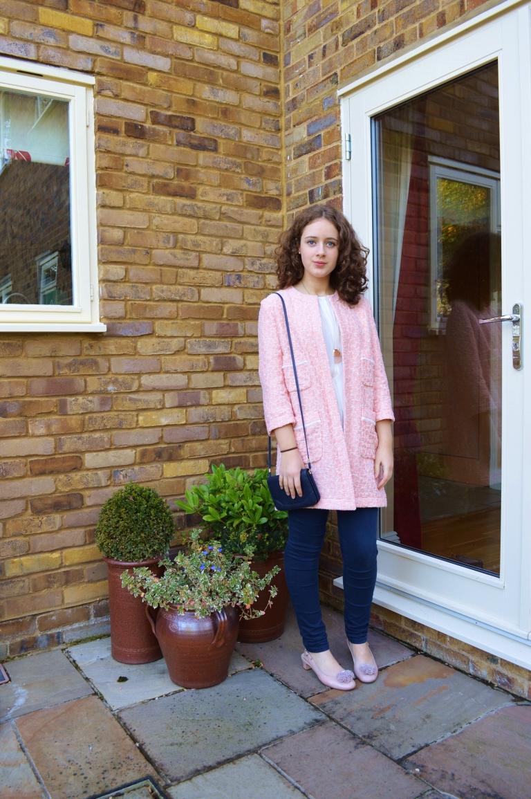 Pink coat ootd 009